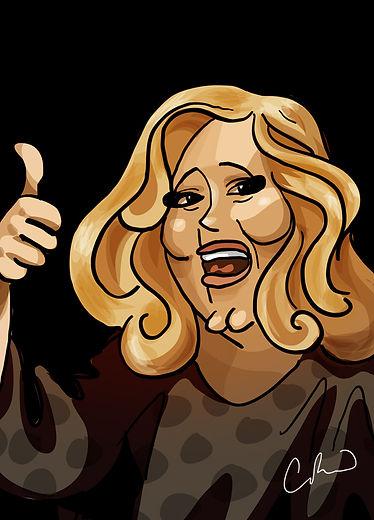 Caricature Adele Ian Renshaw actor prop maker designer illustrator musician