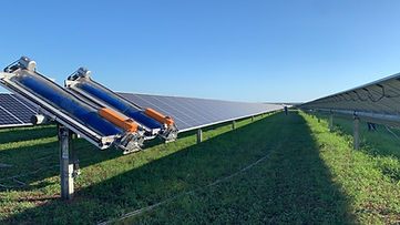 Cleaning robots on solar panels