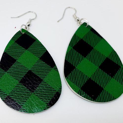 Green Buffalo Plaid Earrings