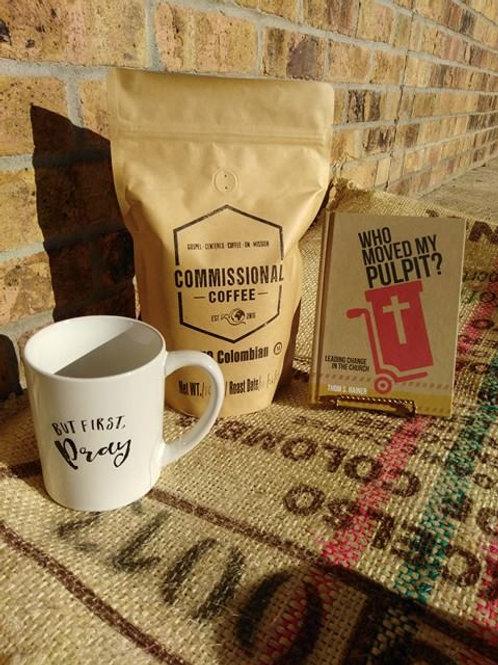 Coffee, mug & book (him)