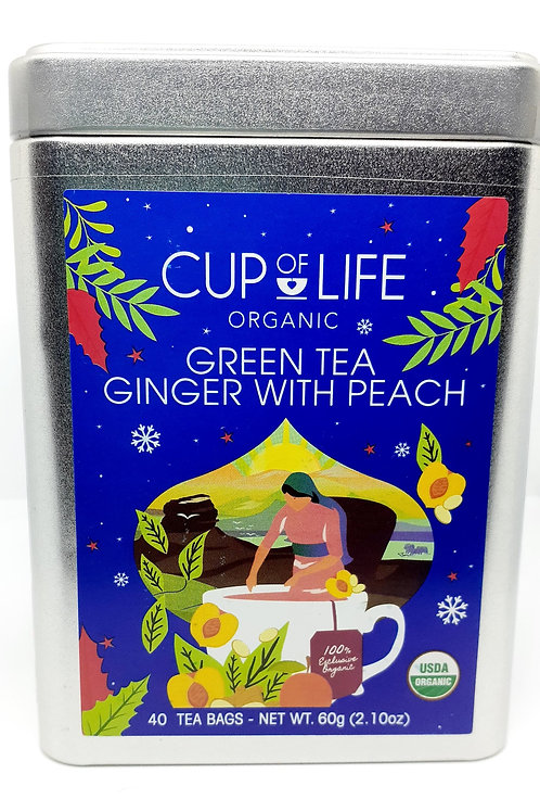 Cup of Life Organic Green Tea Ginger with Peach