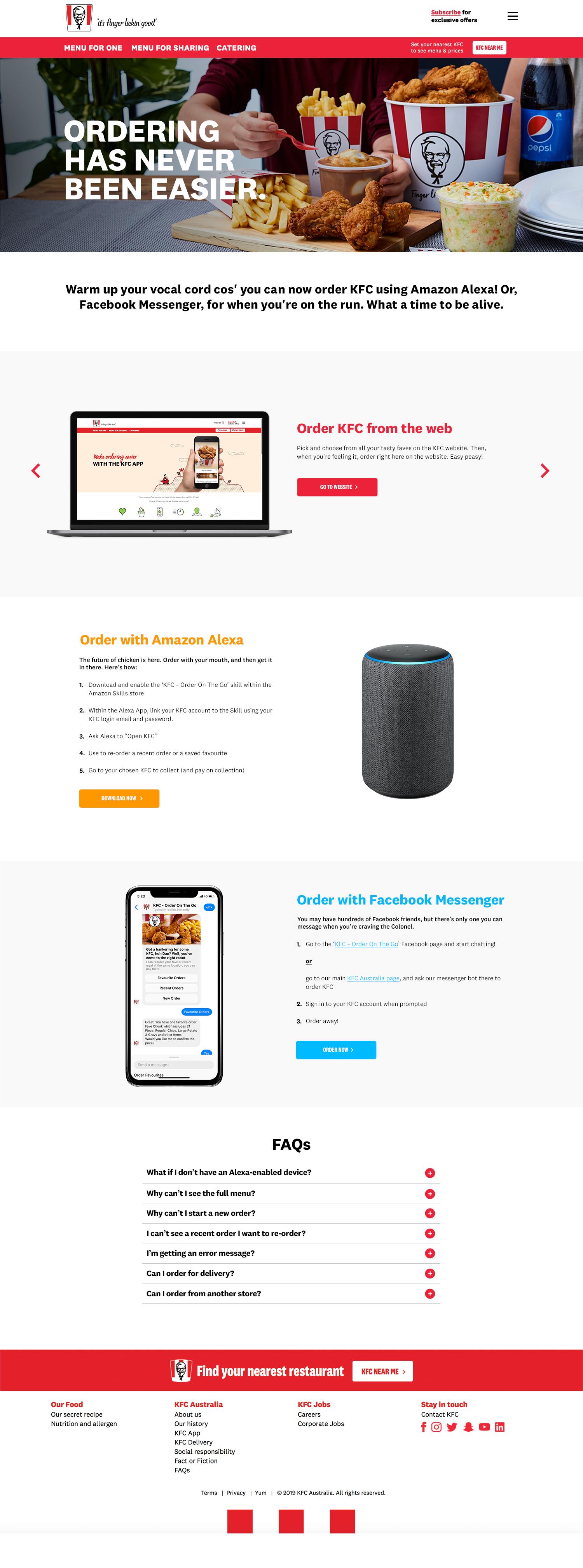 KFC Chatbot Landing Page