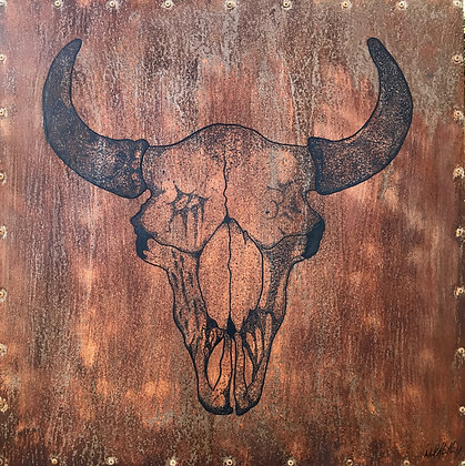 Buffalo Skull Original - Acrylic on Metal