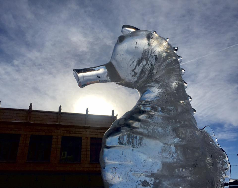 Ice sculpture on the streets of Butte, Montana
