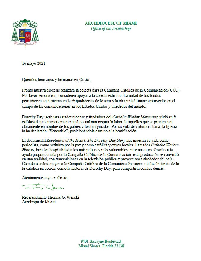 Carta De Campaña Catolica de la Communic