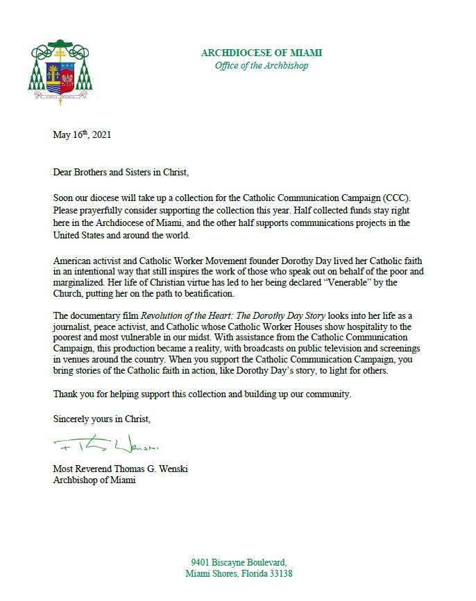 Letter Catholic Comunication Campaign.PN