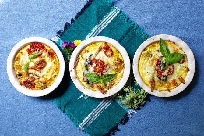 roasted tomato and home fry frittata