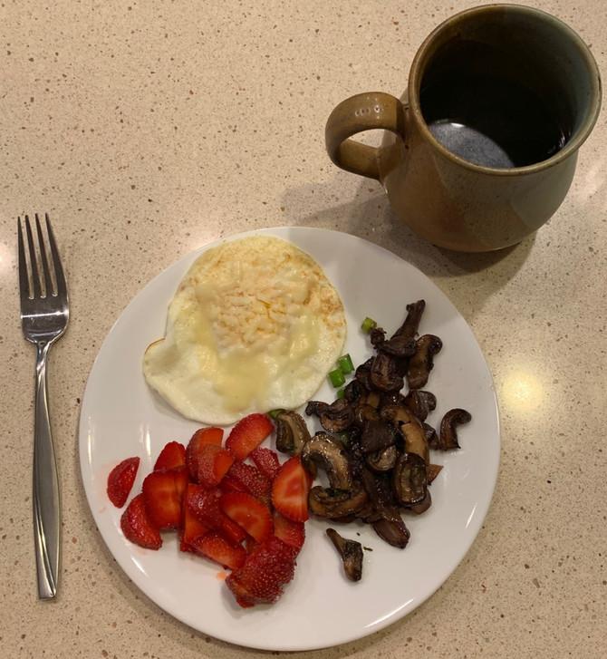 Eggs, Mushrooms, & Strawberries . . . YUM!