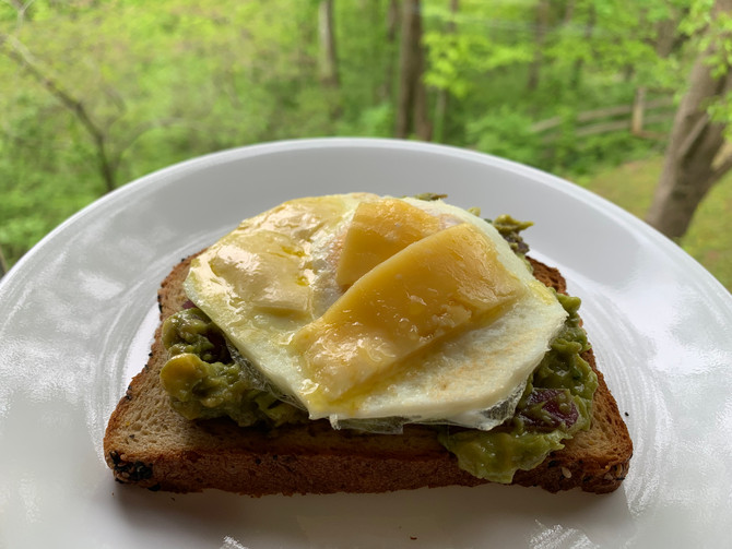 Egg Sandwich w Avocado Corn Salad