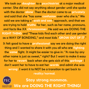 We took our daughter to a psychiatrist at a major medical center. During our consultation,