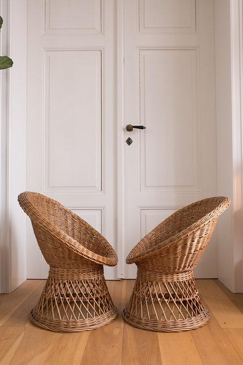Set of 2 Vintage wicker children armchairs
