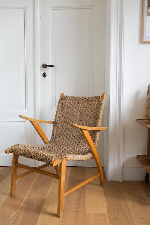 Mid Century Woven Rush Rope Armchair 1950s Vroom & Dreesman style