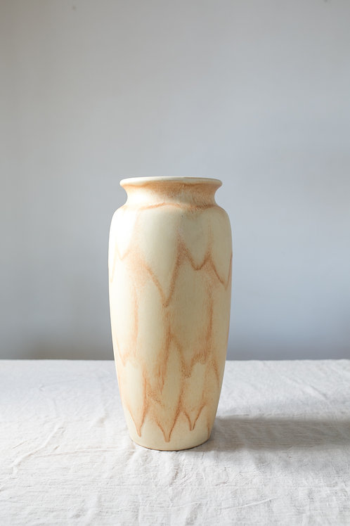 Large Scheurich floor vase from Germany with dripping glaze in sand tones