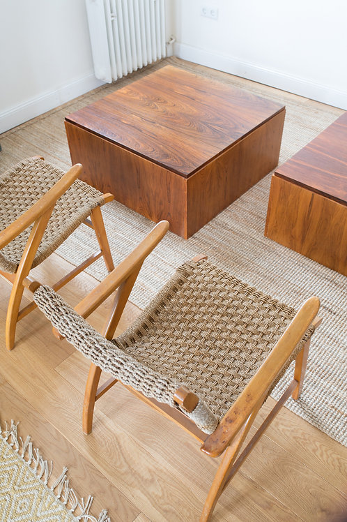 Rosewood cube coffee table with storage