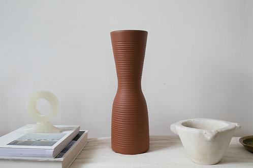 Ilkra Edelkeramik ribbed flower vase terracotta