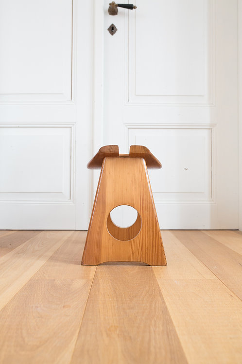 Solid pine modernist stool by Gilbert Marklund
