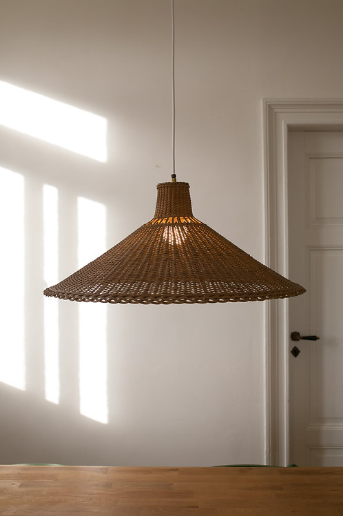 Large vintage rattan wicker pendant light