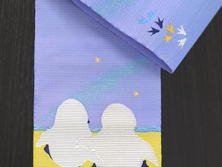 絽綴れ名古屋帯 ペンギン