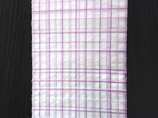 麻織物名古屋帯 吉野格子 紫