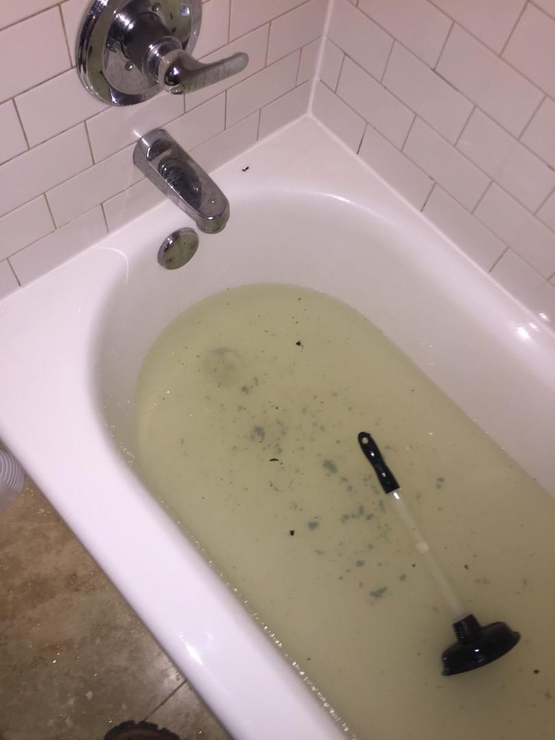 clogged tub