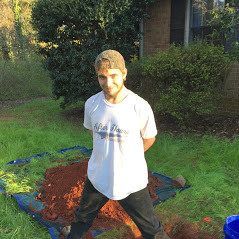 Plumber Austin Nix in front of a plumbing excavation at After Hours Plumbing LLC