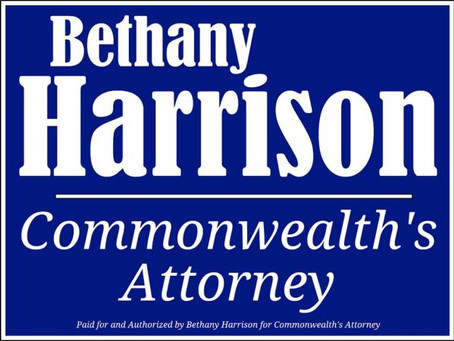 Bethany Harrison Unanimously Supported by Area Commonwealth's Attorneys
