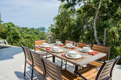 Outdoor dining area with view