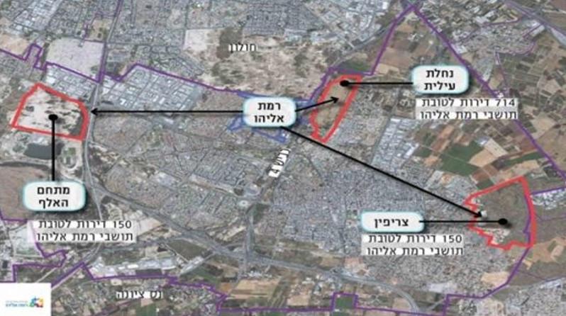 מפה של קרקע משלימה בפרויקט פינוי-בינוי ברמת אליהו