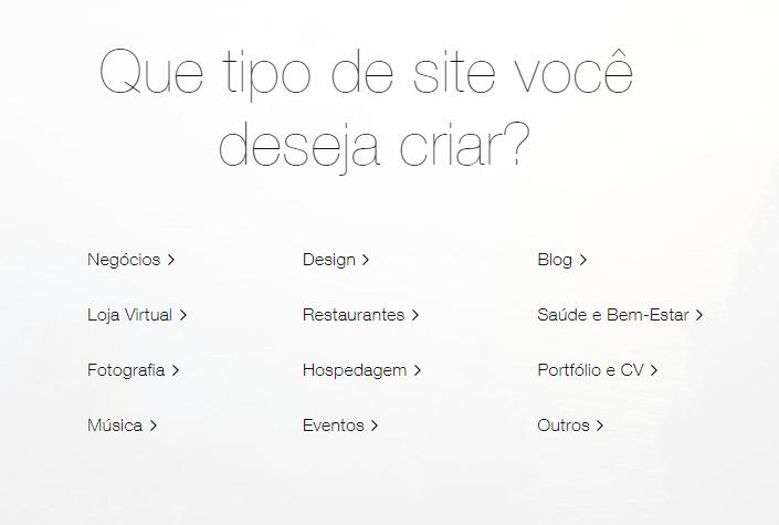 que tipo de site você deseja criar?