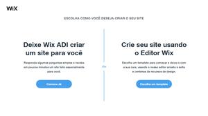 escolha como você deseja criar seu site wix