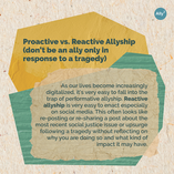 Proactive vs. Reactive Allyship (don't be an ally only in response to a tragedy)