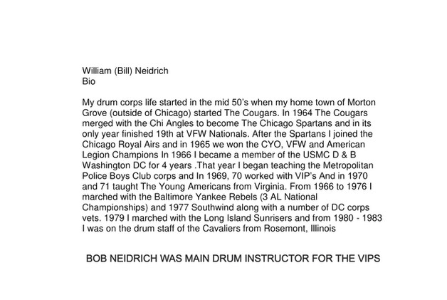 William (Bill) Neidrich (BIO) 2020