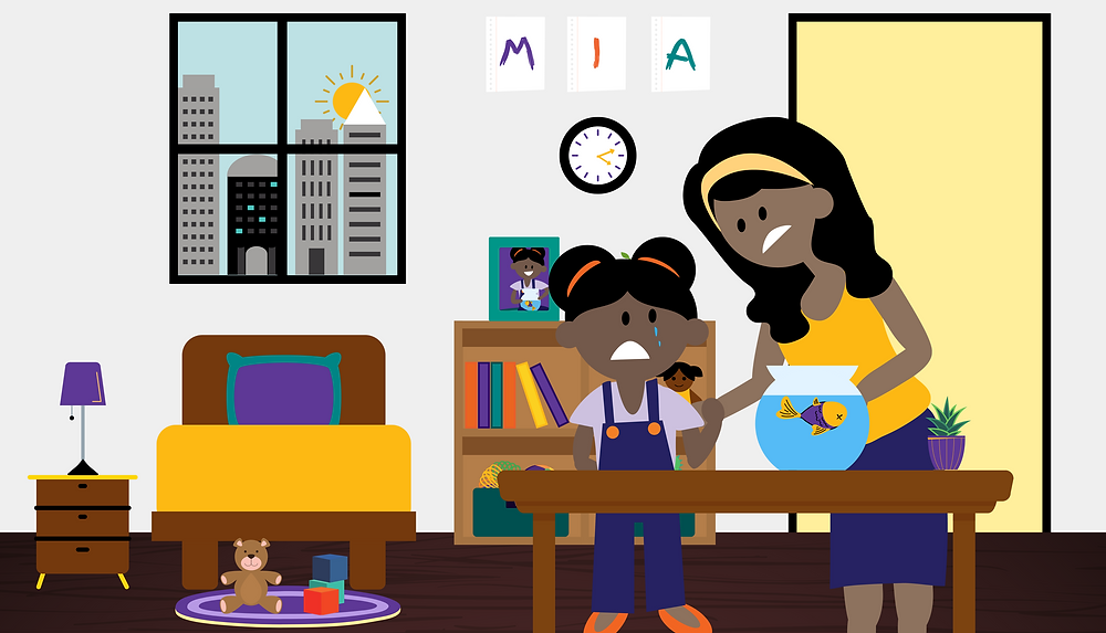 In ParentCorps' latest digital book, Mia and her Fish, Mia experiences the life and death of her pet fish.