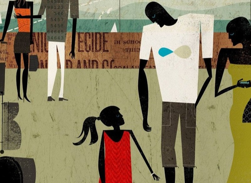 Abstract illustration of children and families
