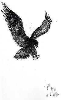 Nasreddine Bennacer tableau painting aigle et la girafe