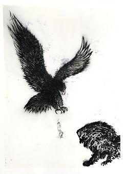 Nasreddine Bennacer tableau painting aigle lion et souris