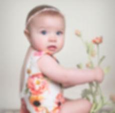 sitter 6 month six photo shoot idea floral flower bonnet spring photo shoot idea