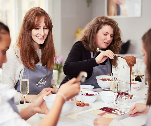 Two participants of Chocolate Making Classes
