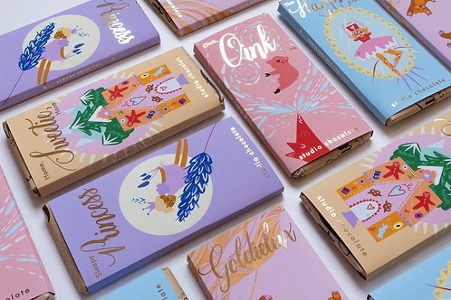The Fairy Tale Library, six-piece chocolate bar collection