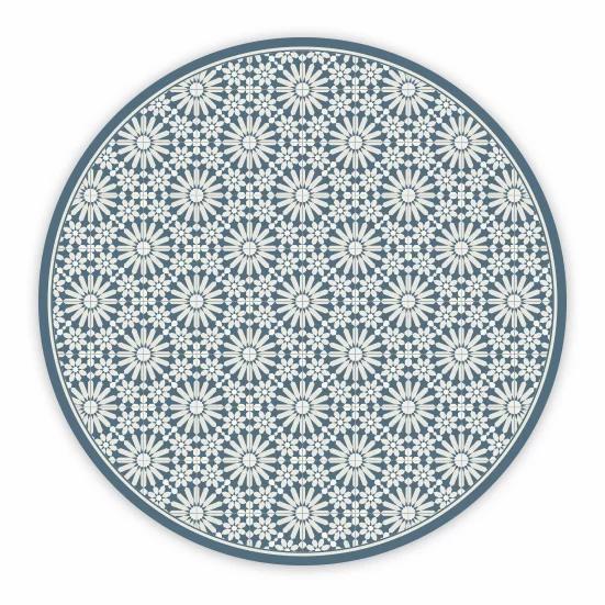 Round Tangier - Vinyl Floor Mat - Dark blue Moroccan tiles pattern