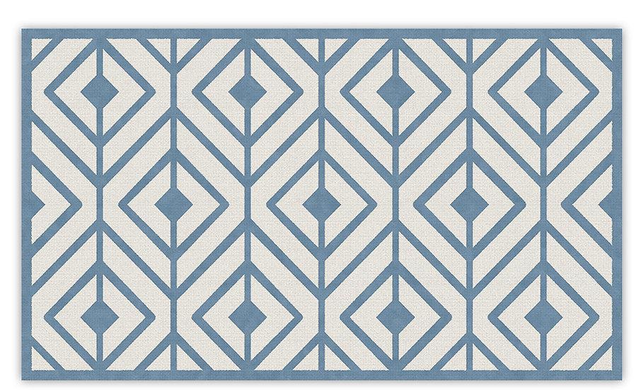Kaya - Vinyl Floor Mat - Blue graphic pattern