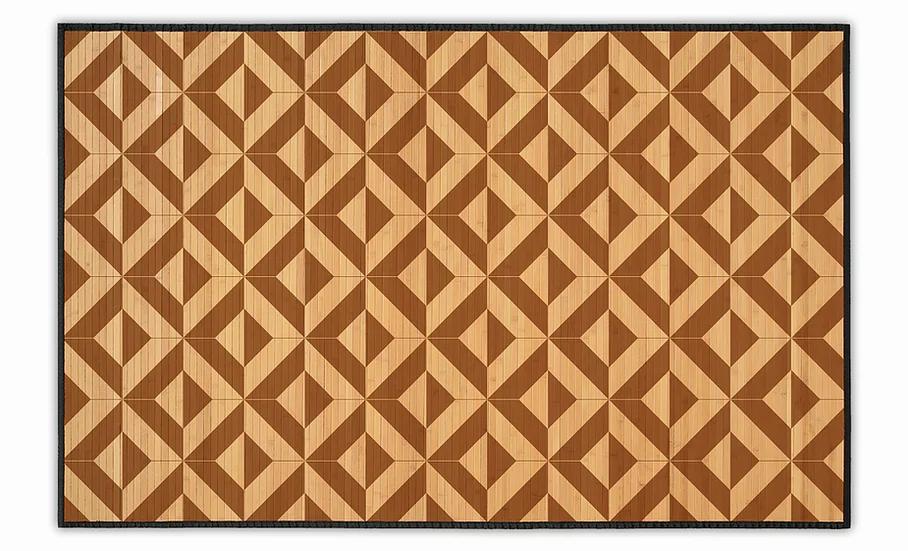 Parquet - Bamboo Mat - Dark brown geometric pattern