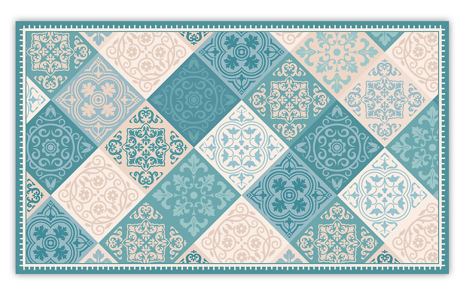 Renaissance - Vinyl Floor Mat - Turquoise and green mix tiles pattern