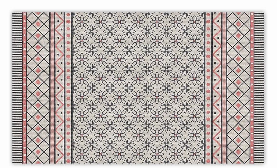 Almond - Vinyl Floor Mat - Pink geometric pattern