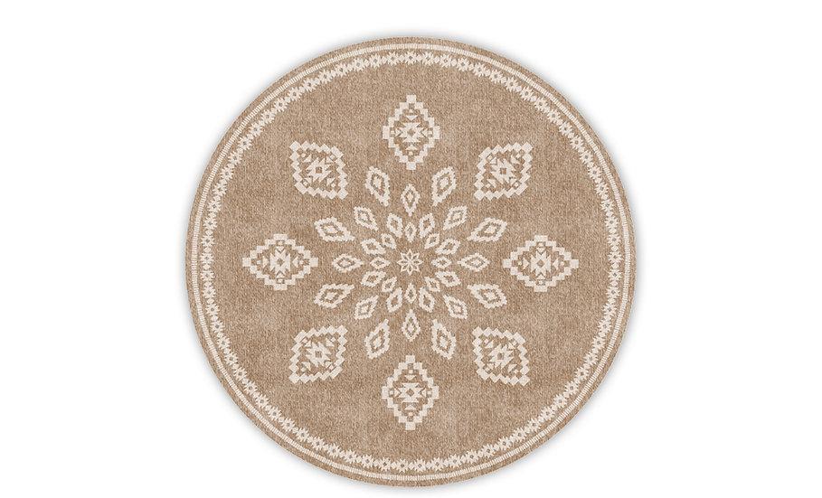 Round Samara - Vinyl Floor Mat - Brown ethnic pattern