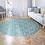 Thumbnail: Round Marrakesh - Vinyl Floor Mat - Blue and turquoise Moroccan tiles pattern