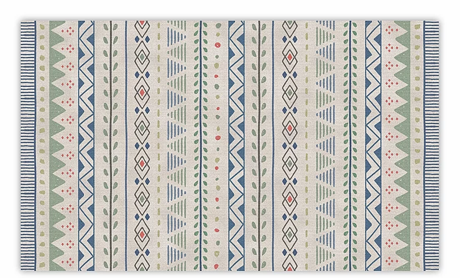 Jordan - Vinyl Floor Mat - Green and blue ethnic pattern