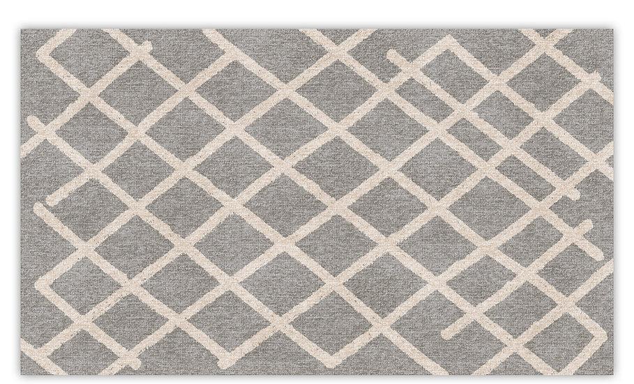 Isfahan - Vinyl Floor Mat - Light gray graphic pattern
