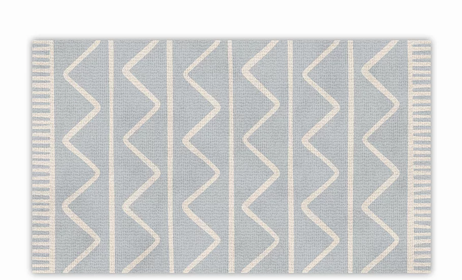 Zigzag - Vinyl Floor Mat - Light gray graphic pattern