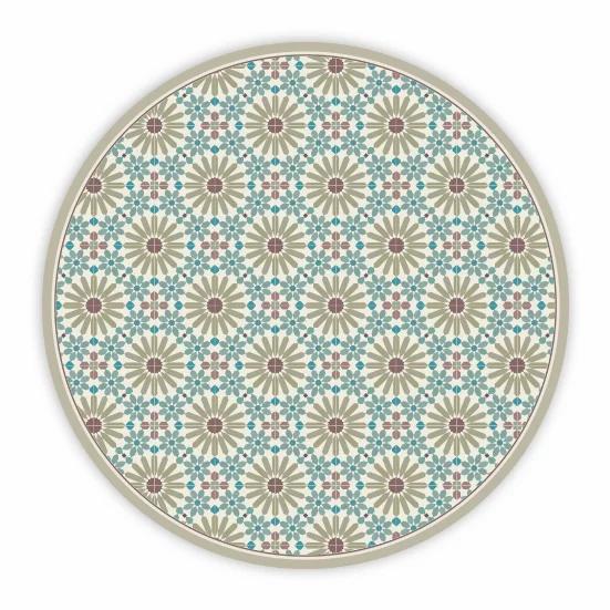 Round Marrakesh - Vinyl Floor Mat - Sienna Moroccan tiles pattern